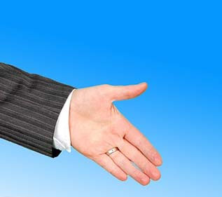 Outstretched hand to symbolize hiring