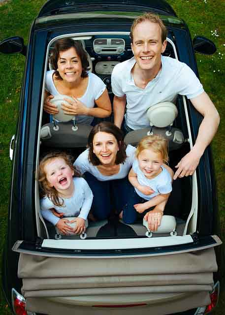 family in convertible